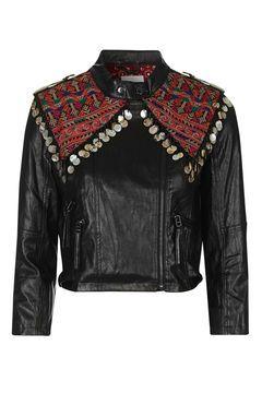 Embroidered Biker Jacket by Native Rose