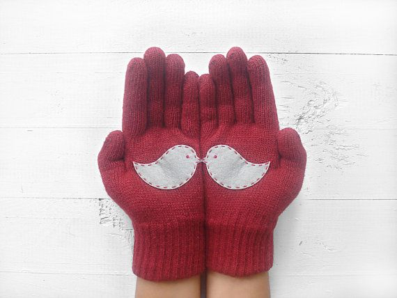 CHRISTMAS, HOLIDAY GIFT, Love Birds, Burgundy Gloves, Deep Red, Special Gift, Winter Trend, Gift For Her, Xmas Gift Idea, Woman Gift, Birds