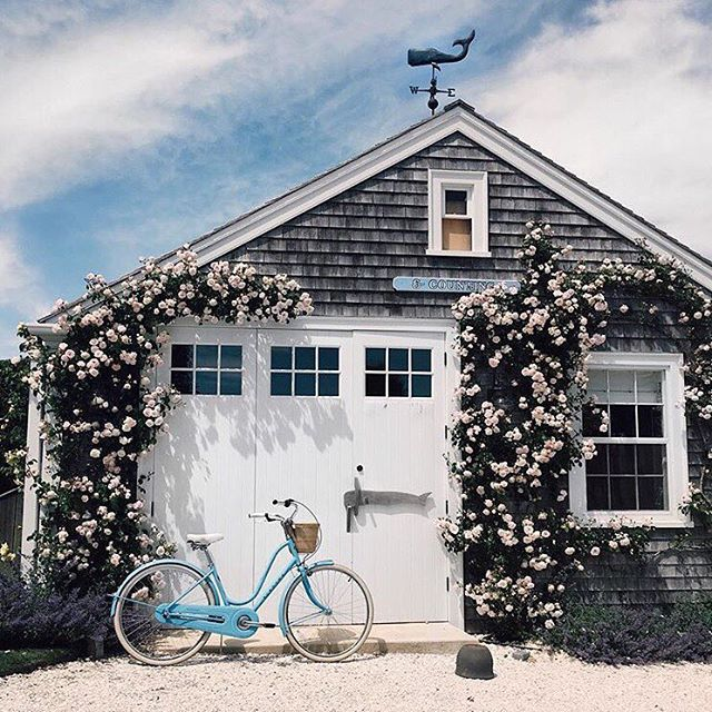 Charming Nantucket-style beach cottage with climbing roses and a bright blue beach cruiser.
