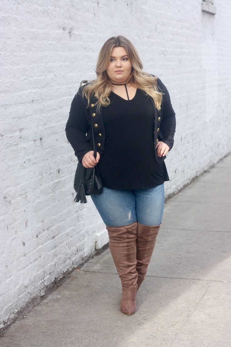 Military Style Jacket Wide Calf Thigh High Boots