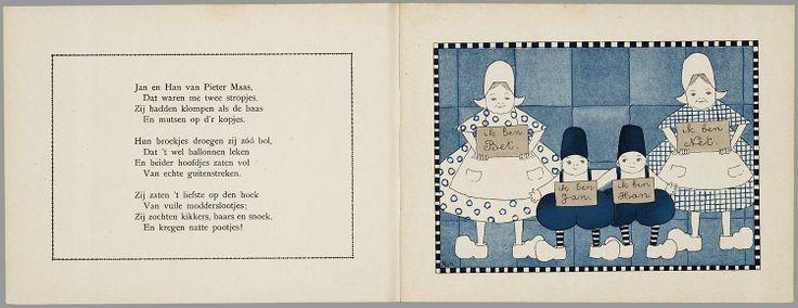 Van twee stoute boertjes en twee zoete boerinnetjes / door J.T. Heins ; plaatjes door Ajo 1920 9 strak gestileerde paginagrote illustraties (in zwart, blauw en lichtbruin) naast pagina's met rijmende tekst, en titelpagina met gedecoreerde sierrand. Het gaat over 2 meisjes die met dode rat worden geplaagd door 2 kwajongens. Meisjes nemen wraak en jongens belanden in vieze sloot en bed. Figuren zijn gekleed in een soort 'nationale' klederdracht, met klompen, mutsen, wijde rokken en bolle…