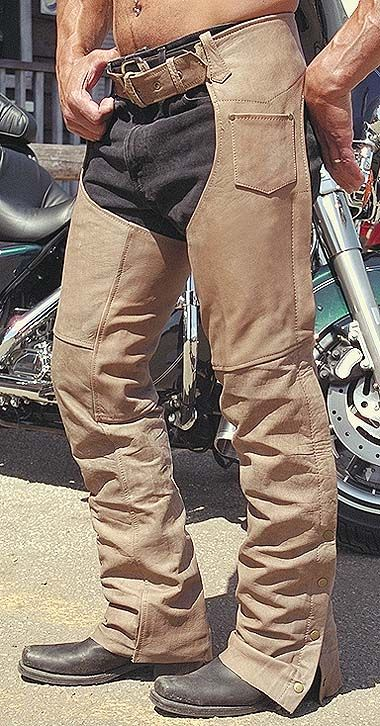 Light brown leather chaps for men and women Distressed