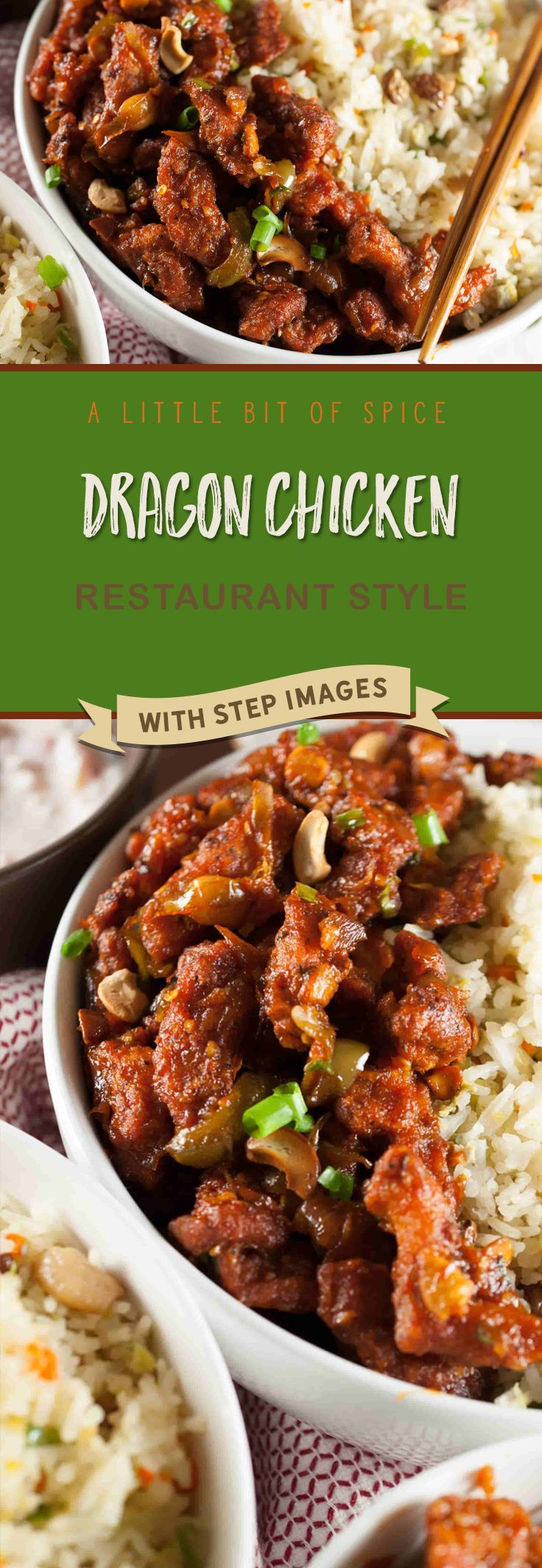 Chicken strips marinated, fried and sauteed in a spicy and tangy sauce. Quick and delicious Indo Chinese Dragon chicken recipe.