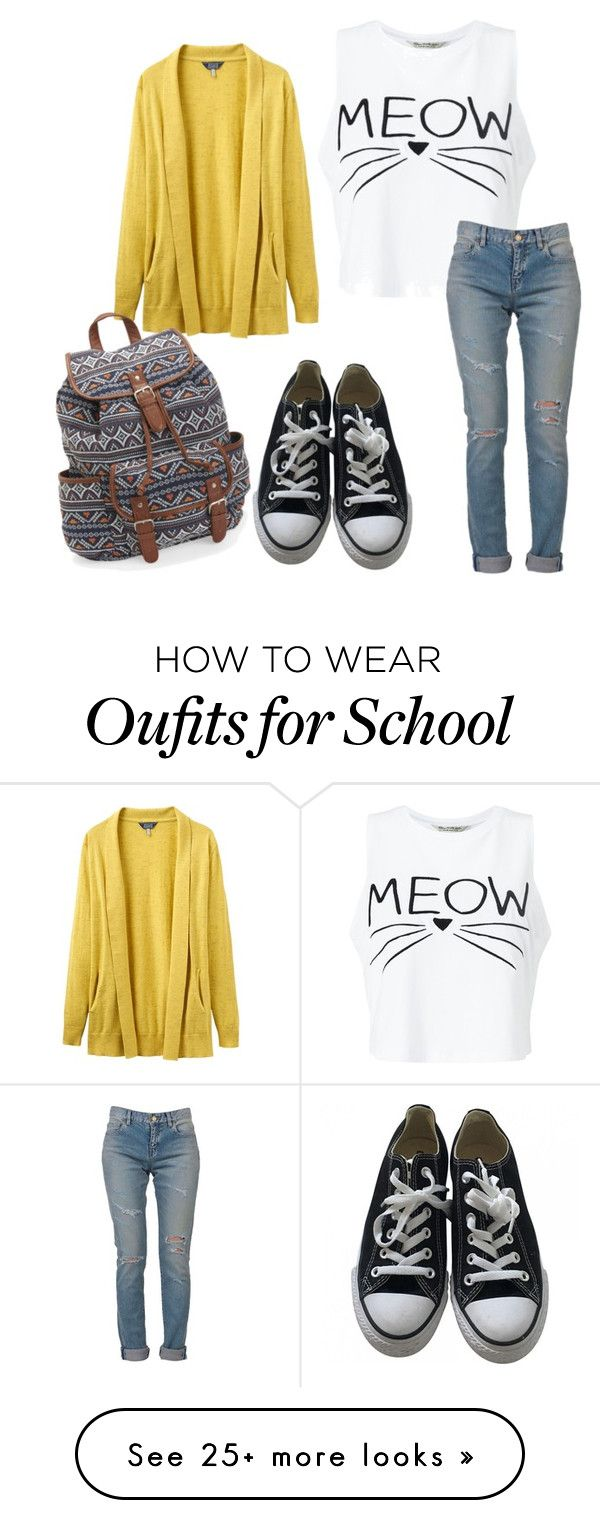 """Another Day at School"" by megatron00 on Polyvore featuring Miss Selfridge, Yves Saint Laurent, Joules, Converse and Aéropostale"