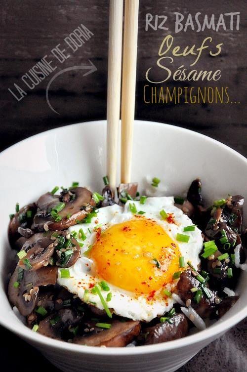 Champignons au sésame, riz basmati et oeuf au plat - La cuisine de Doria