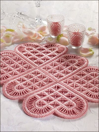Lacy Hearts Plastic Canvas Pattern Download from e-PatternsCentral.com -- Stitch this lacy place mat for a Valentine's table.