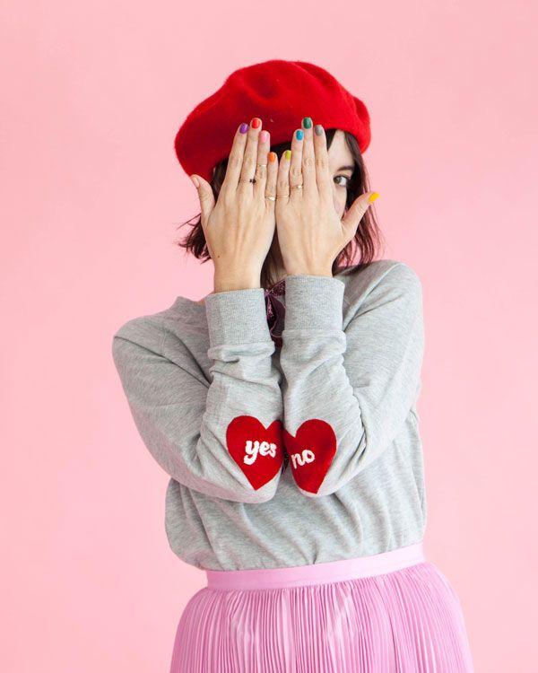 Heart Sleeve Sweatshirt DIY | Oh Happy Day!    #diy #valentinesday