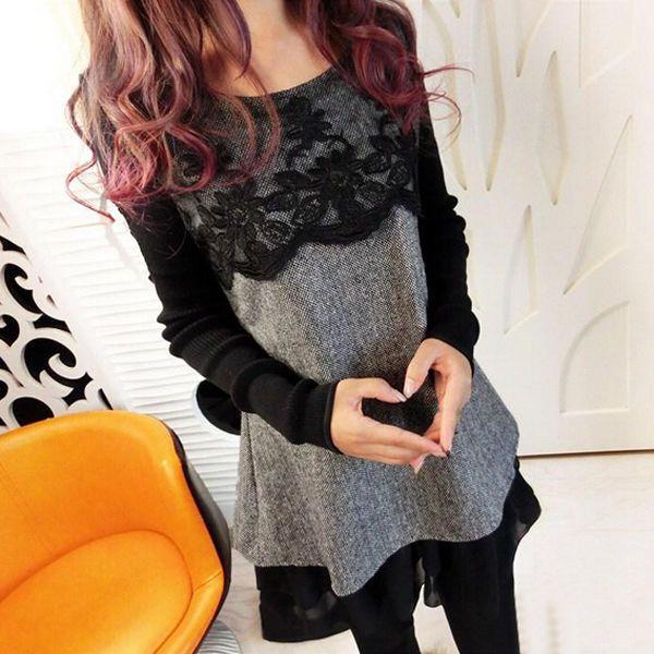 Sexy Women Long Top Lace Chiffon Knitwear Jumper Pullover Tunic Dress UK SZ 6-20