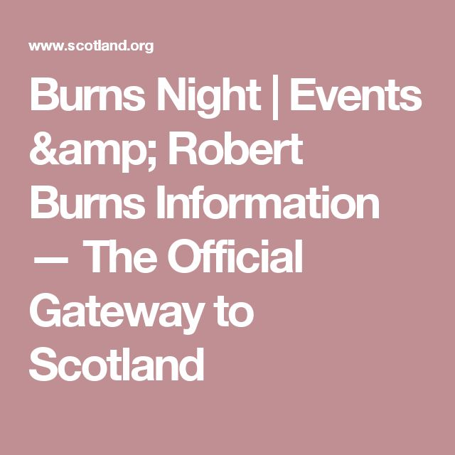 Burns Night | Events & Robert Burns Information  — The Official Gateway to Scotland
