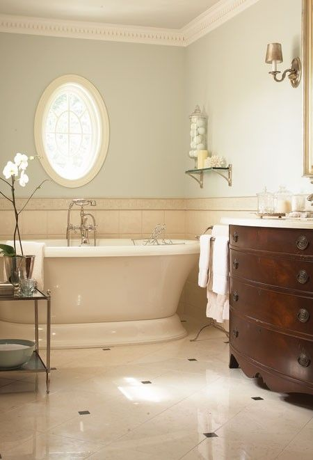 Image detail for -spacious soaker tub and sleek marble flooring establish this space ...