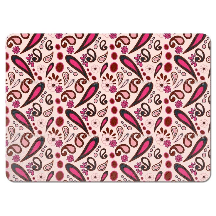 Uneekee Beebob Paisley Pink Placemats (Set of 4) (Beebob Paisley Pink Placemat)