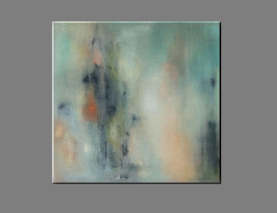 "FREE SHIPPING - Acrylic painting , abstract,  original painting, black, green, orange gray, white, canvas paiting 70x70 cm,28""x28"""