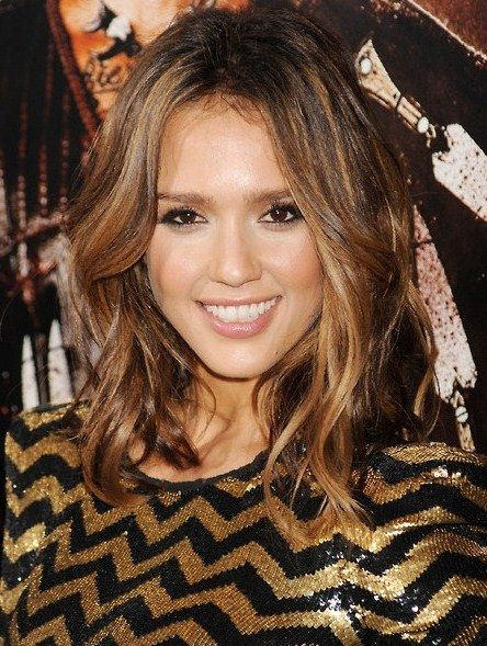 Center Part & Thick Waves - Medium Hairstyles Picture Gallery