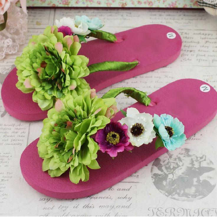 2017 Hot Summer Ladies Flip Flops Shoes Women Fashion Soft Cool Beach  Outdoor Slipper Green Flower Female Non-Slip Shoe