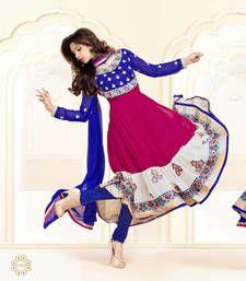 Buy Blue and magenta georgette embroidered semi stitched salwar with dupatta anarkali-salwar-kameez online