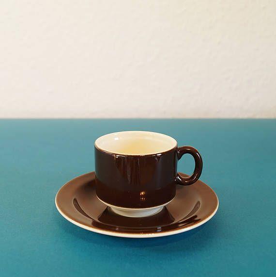 6 Pagnossin Espresso Tassen mit Untertellern. Made in Italy, Europe. Farbe: braun, weiß. Espresso-Set. Keramik, lasiert. Vintage.