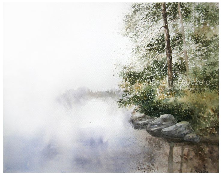 #watercolor #art #painting #ewelinakuczera #lake #trees #mist #fog #misterious #green #illustration