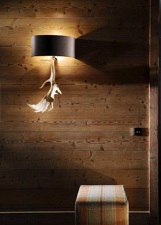 Portfolio, Nicky Dobree, Interior Designer, Interior Design, Luxury Ski Chalet Design, Ski Chalet Designer moose antlers plaid pouf