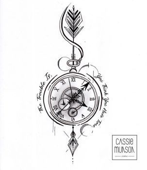Pocket Watch Tattoo Commission by cassiemunson-art – #cassiemunsonart #Commission #Pocket #Tattoo #wallet