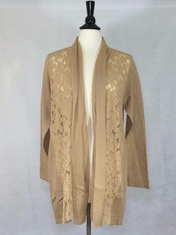 NEW CHICO'S Size 2 = 12/14 $119 Luxe Lace Harriet Cardigan CAMEL Womens Top NWT #Chicos #Cardigan #Career