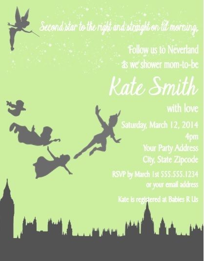 Peter Pan Baby Shower or Birthday Party Invitations Custom Personalized in Home & Garden, Greeting Cards & Party Supply, Greeting Cards & Invitations | eBay
