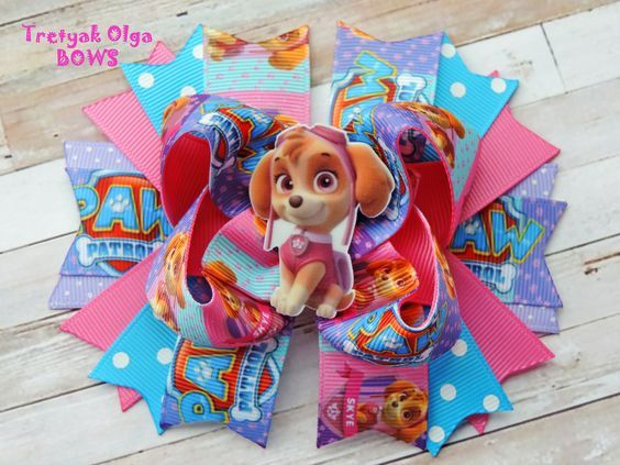 Paw Patrol Hair Bow Skye Hair Bow Skye Boutique Hair Bow Paw Patrol Party Paw Patrol Birthday Paw Patrol Skye Outfit Everest Hair Bow by TretyakOlgaBows on Etsy
