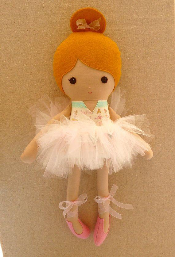 Fabric Doll Rag Doll Pink Ballerina Doll with Tutu por rovingovine