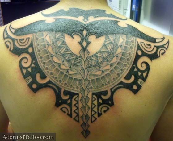 Tahitian-Style Tribal Back Tattoo from Adorned Tattoo Body Art II | tattoos picture tribal back tattoos