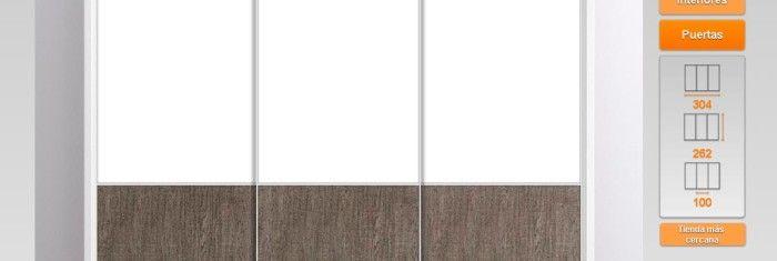 Elegante armario de 3 puertas correderas en color blanco y for Armario puertas correderas 1 metro
