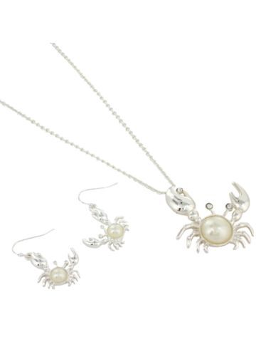 Silvertone Pearl Accented Crab Necklace and Earring Set