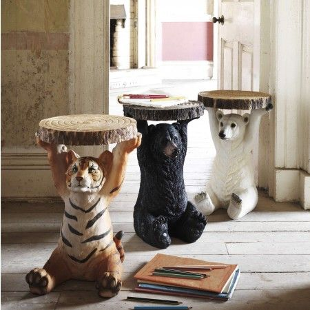 Animal Side Table - A polar bear and a black bear for each girl in each of their bedrooms as a bed stand???