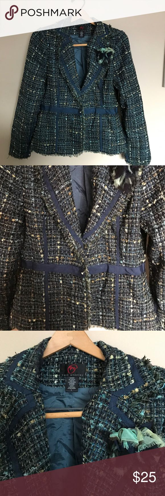 True Meaning tweed eccentric blazer True Meaning tweed eccentric blazer with flower detail. Material is actual blended acrylic , polyester and rayon combo with tweed look. Cute for office or weekend fun with jeans and flats. I love reasonable offers ☀️ True Meaning Jackets & Coats Blazers