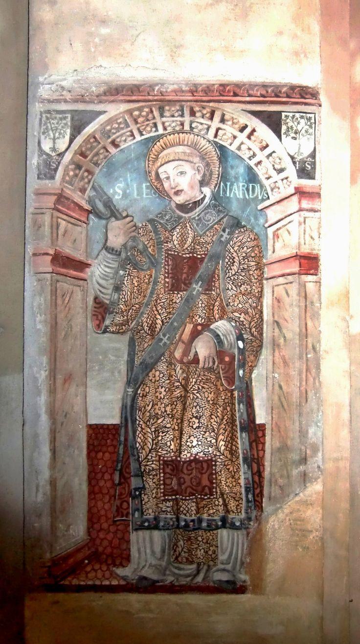 Saint Leonard, fresco, XV century, Basilica di San Giulio, Orta (Novara)
