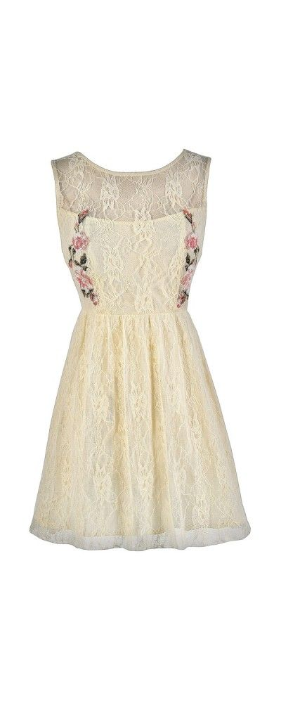 Cross Stitch My Heart Cream Lace Dress  www.lilyboutique.com