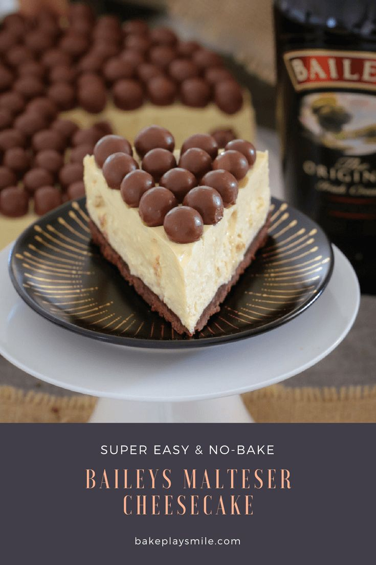 A delicious white chocolate Baileys Malteser Cheesecake that is completely no-bake! Chocolate... Baileys... Maltesers = the perfect boozy dessert!