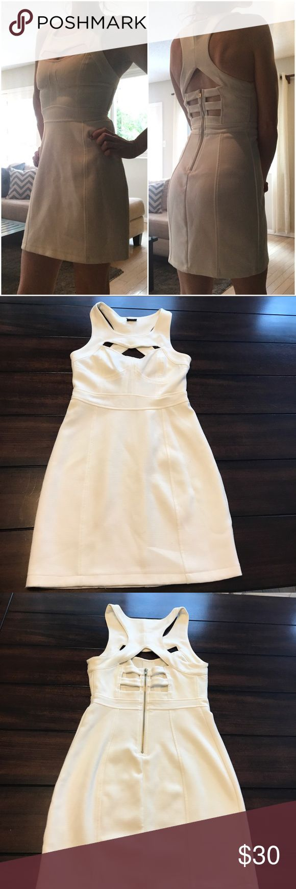 Urban Outfitters cream dress cut out back zip up Adorable sparkle & fade cream mini dress size 4 from urban outfitters. Gold tone zip up in back, cut outs in back. Really high quality material and well made. Very soft. Worn a couple times but in good condition. It is cream so there is 2 very light marks on the dress front side. I put a picture of both but they're hard to notice and could be bleached or washed/dry cleaned out. I LOVE this dress it's amazing just have nowhere to wear it lol I…