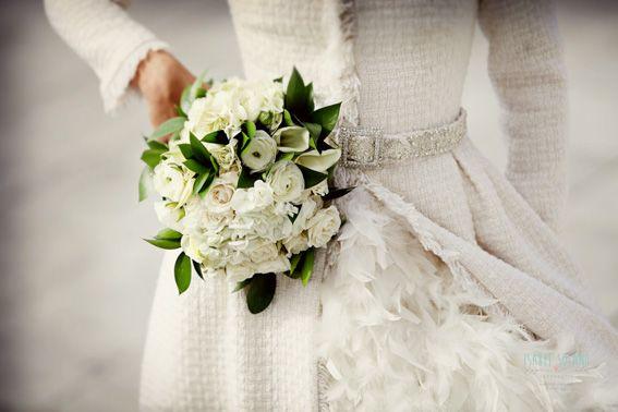 #ramo #elegante #invierno #blanco #rosas #verde