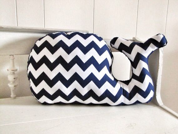 Navy and white Chevron Whale Pillow plush for nautical whale nursery baby boy nursery by RaggedyRAD, $28.00