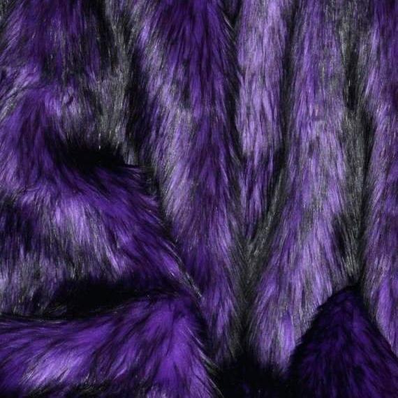 "Sold By The Yard.60/""wide. Royal blue// Black Husky Faux Fur Shaggy Faux Fur"