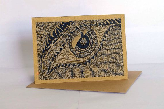 Handmade greeting card style GC005 set of 3 - ethnic abstract drawing - all occassion