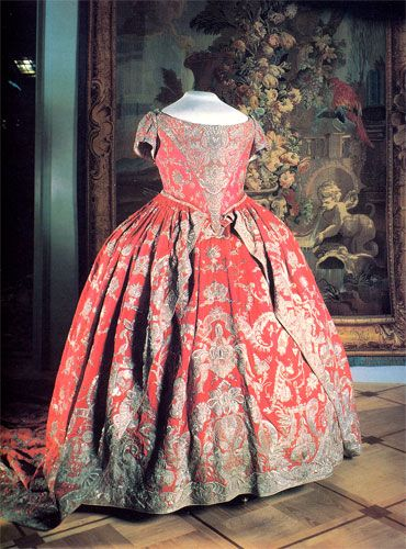 Coronation dress of Catherine I.    Russia, in 1724.  Silk and silver embroidery.