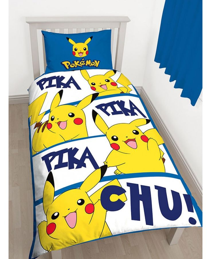Pokémon Pikachu Single Duvet Cover and Pillowcase Set. Check out the reversible design on our website!
