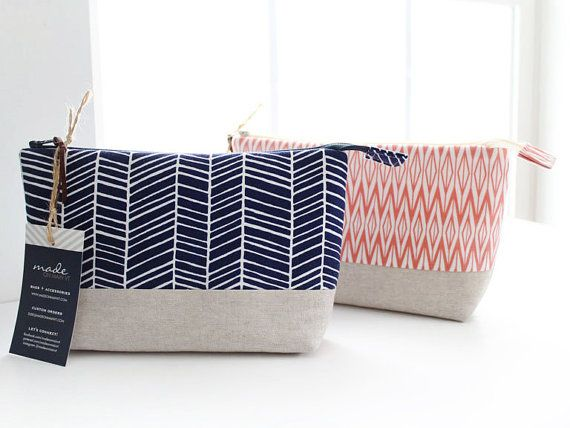 Makeup Bag with Waterproof Lining Navy Blue by MadeOnMainVT