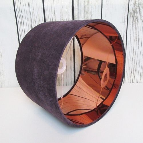 55 best metallic lampshades images on pinterest bespoke candid drum lampshade hand rolled in a purple velvet fabric the interior of the lampshade has also been lined with mirror copper pvc aloadofball Images