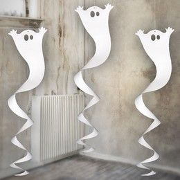 Fehér Szellem Spirális Halloween Dekoráció - 90 cm