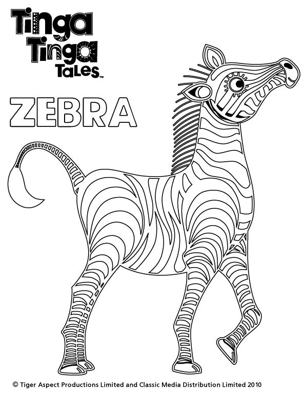 Tinga Tinga Tales Black and white picture of Zebra