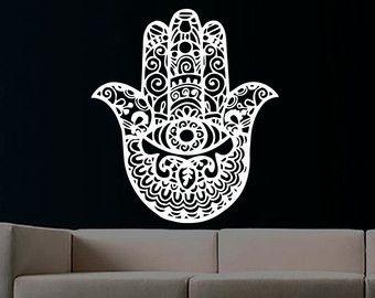 Wall Decals Yoga Fatima Hand Hamsa Indian Buddha by CozyDecal
