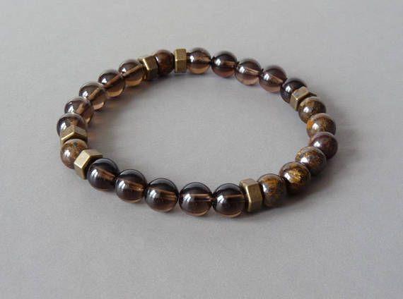 Elastic Bracelet Men Smoky Quartz Bracelet Beaded Bracelet