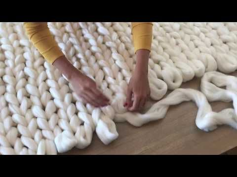 DIY Tutoriel: tricoter une couverture XXL avec les mains en laine merinos SuperComfy - YouTube