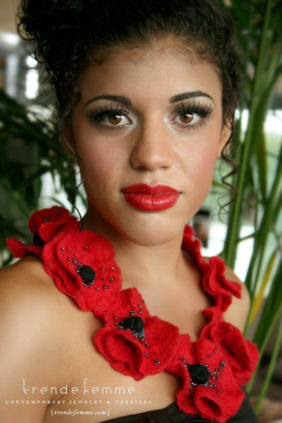 Crimson Poppies | Felted Wearable Art Necklace | En El Paraíso (In Paradise) Collection